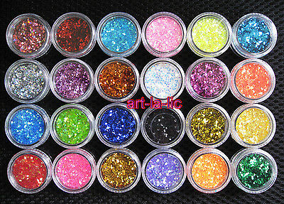 24 Colors Spangle Glitter Nail Art Paillette Acrylic UV Powder Polish Tips Set