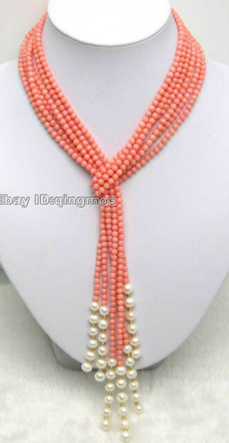 """Natural 3-4mm Pink Round Coral & Pearl 3 Strands 47"""" Shawl Necklace for Women"""