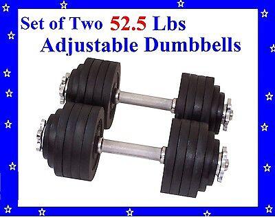 New 2 x 52.5 LBS A Set Adjustable Cast Iron Dumbbells Total 105 lbs Dumbbell