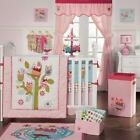 Zutano Owls 4 Piece Crib Bedding Set (Quilt, Fitted Crib Sheet, Diaper Stacker, Dust Ruffle), Pink (Z21BED)