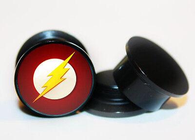 Pair of Acrylic The Flash ear plug gauges tunnel screw on backs