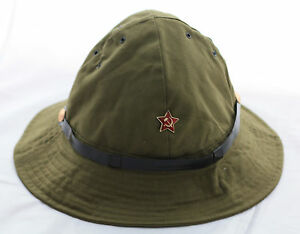 RUSSIAN-MILITARY-SOVIET-USSR-ARMY-AFGHANISTAN-UNIFORM-HAT-CAP-KHAKI-PANAMA-BADGE