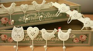 Shabby Vintage Chic Style Metal Hooks Heart Bird Hen Owl Country