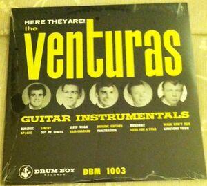 VENTURAS-Here-They-Are-Guitar-LP-surf-1965-ventures-dick-dale-Del-Tones-drum-boy