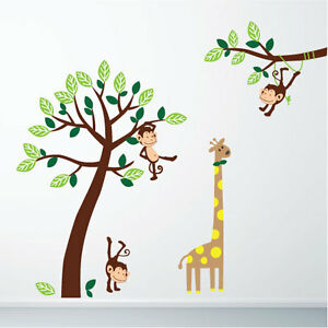 Image is loading Monkey-amp-Giraffe-Jungle-Nursery-Wall-Art-Stickers-