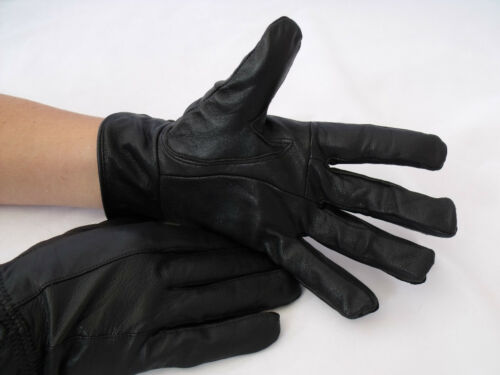 Mens Super Soft Genuine High Quality Black Leather Gloves Winter Fleece Lined