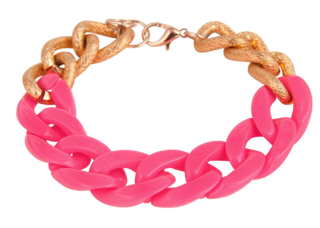 Chunky Hot Pink Acrylic & Gold Curb Chain Bracelet for Women
