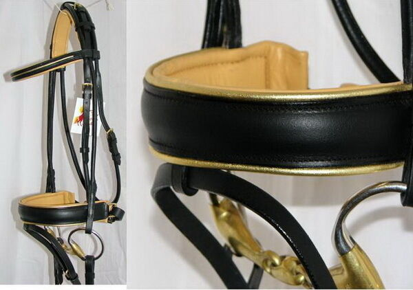 FSS German Rolled GOLD PIPING Comfort BEIGE ORANGE TAN Padded Dressage Bridle