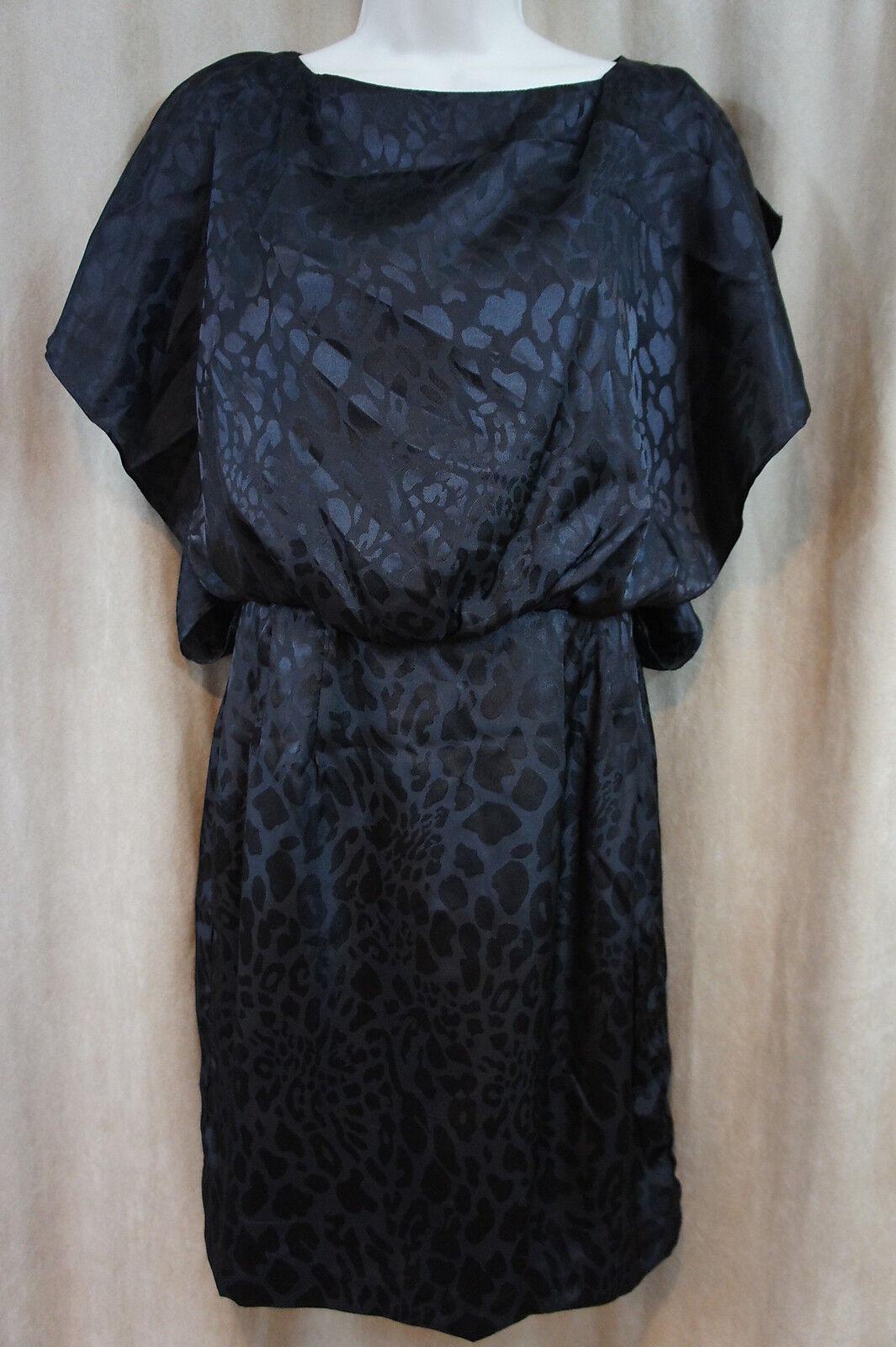 Jessica Simpson Dress Sz 6 schwarz Animal Print Dolman Sleeve Slit Cocktail Party