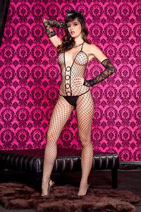 Black-Diamond-Net-O-Ring-Halter-Neck-Body-Stocking-Sexy-Underwear-Lingerie-P1120