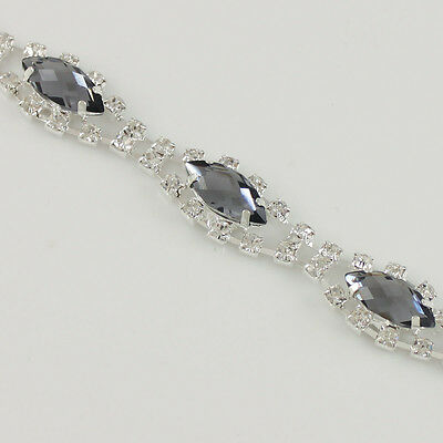 1yds Beautiful Rhinestone Crystal Silver Chain Sewing Trim Many Colors Choose