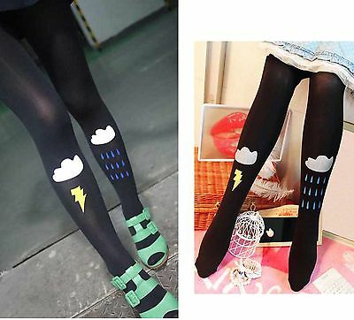 Individual Cloud Thunder Rain Asymmetric Tights Pantyhose #Q40