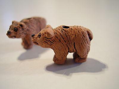 2 MINI Peruvian Ceramic Brown Black Polar Panda Koala Bear Earring Beads Or Lot