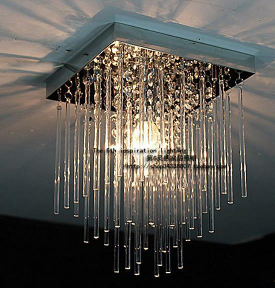 2pcs 20cm Led Crystal Ceiling Light Fixture Pin Lamp Lighting Prizm Chandelier