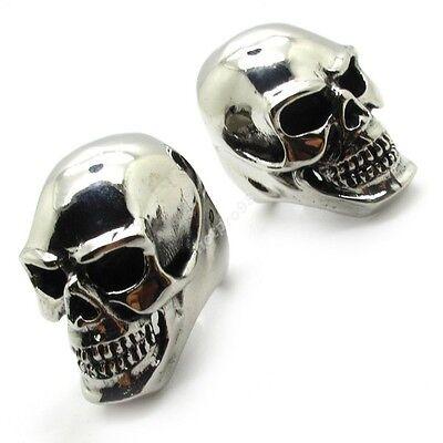 2PCS huge&heavy silver skull men's Supergiant ring 316L Stainless Steel