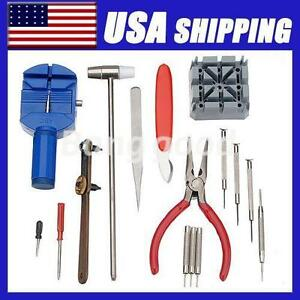 New-16pc-Deluxe-Watch-Back-Case-Opener-Tool-Kit-Repair-Pin-Remover-Watchmaker