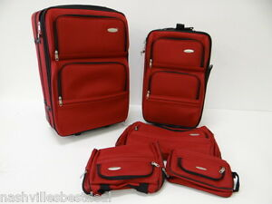 Samsonite-5-Piece-Nested-Luggage-Set-RED-440111154-Push-Button-Locking-Handles