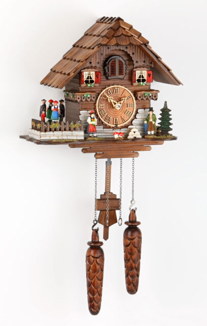 Quartz cuckoo clock Black Forest House with turning dancers-Made in Germany
