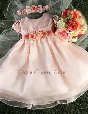 New Baby Girls Rose Pink Dress Size S-XL Wedding Easter Pageant Flower Fancy 776