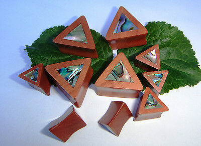 Pair Handcrafted ABALONE SHELL Sawo Wood Triangle Double Flared Ear Plugs Gauges