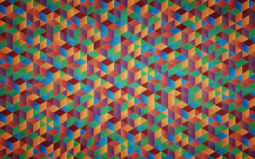 Colour Cubes Abstract Home Decor Canvas Print A4 Size (210 x 297mm)