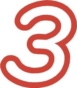 x1 12.7cm Ziffern (MEHR im -SHOP) Startnummern vinyl-Sticker Stil 1 weiß/Rot