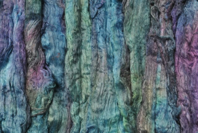 Heidifeathers® Mulberry Silk Tops / Fibres- Hand Dyed, space dyed - 'Peacock'