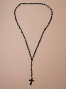 Mens-Womens-Boys-33-Heamatite-Rosary-Beads-Necklace-Crucifix-Cross-Black-Grey