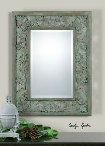 Ornate-French-Leaf-Design-Beveled-Wall-Mirror-Vintage-Moss-Green-Large-33-034-New