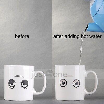 Magical Hot Cold Heat Change close / open eyes Wake-up Sensitive Ceramic Mug Cup