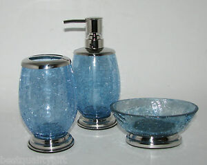 New 3 pc crackled blue glass chrome set soap dispenser for Blue crackle glass bathroom accessories