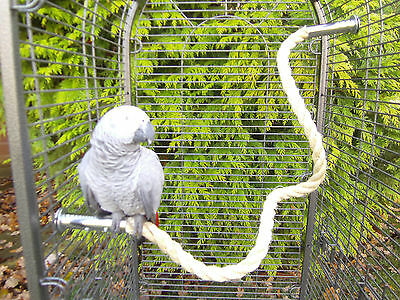 """42"""" Sisal Rope Perch anti-chew ends for Parrots -African Grey, Amazon Cage"""