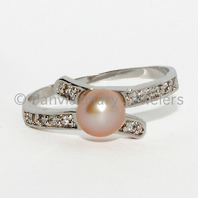 Pink Pearl Ring 925 Sterling Silver 6mm Fresh Water Pearl & CZ Wrap sizes 5 7 9