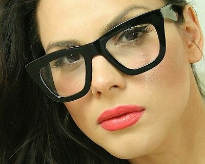 Sexy Cat Eye Big Oversized Clear Lens Thick Black Frame Women Eyeglasses Glasses