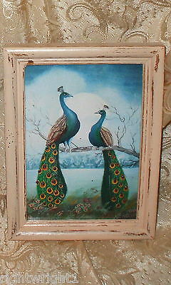 SHABBY WOOD DISTRESSED FRAME CHIC PEACOCK COUPLE PRINT  FRENCH COTTAGE DECOR