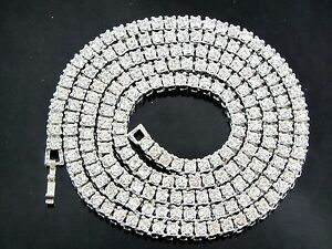 NEW-36-034-ICED-OUT-1-ROW-SIMULATED-DIAMOND-CHAIN-HIP-HOP-BLING-NECKLACE-14K-FINISH