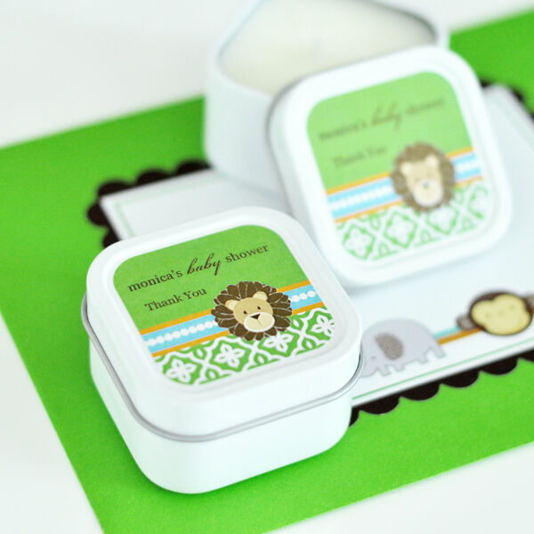 48 personnalisé Square Tin Jungle Safari Bougies Baby Shower Anniversaire Faveurs