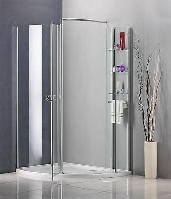 New Walk In Pivot Door Shower Enclosure Glass Cubicle Screen+Stone Tray