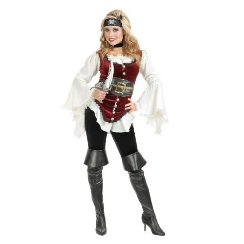 ADULT WOMENS LADY WHITE PIRATE BLOUSE PEASANT RENAISSANCE WENCH COSTUME SHIRT