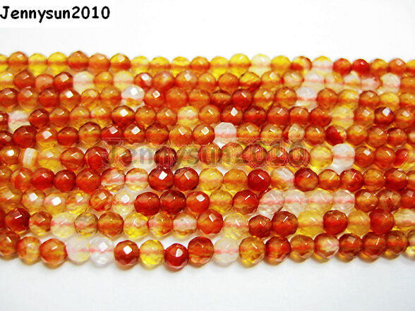 Natural Carnelian Gemstone Faceted Round Beads 15.5'' 3mm 4mm 6mm 8mm 10mm 12mm