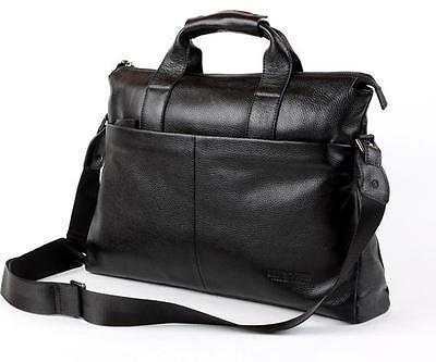 Mens real Genuine Leather Handbag Messenger Shoulder BAG Laptop Briefcase black