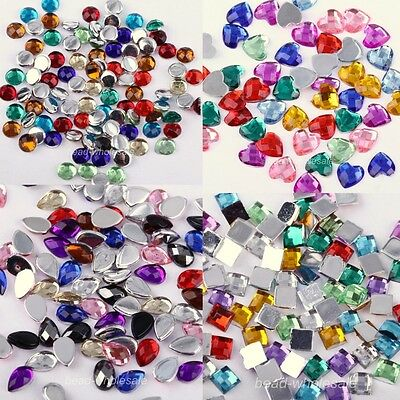 Acylic Square/Heart/Drop Rhinestone Flatback For Phone Craft Decor Mixed Color