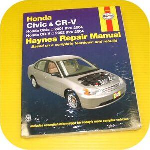 Repair-Manual-Book-Honda-Civic-01-04-CRV-CR-V-Owners