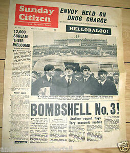 1964-Newspaper-BEATLES-Vintage-Old-Pop-Music-Rock-amp-Roll-Liverpool-Retro-Sunday