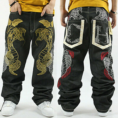 #J HIP HOP Mens Street Dance SkateBoarding Casual Snake Design Embroidery Pants