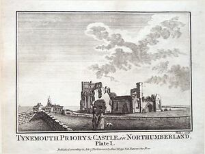 Copper-Engraved-Antique-Print-1786-NORTHUMBERLAND-TYNEMOUTH-CASTLE