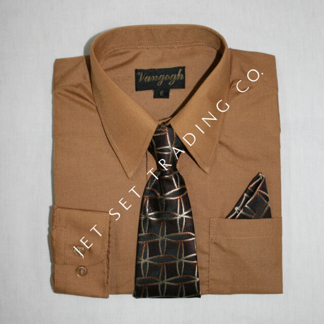 Boys Brown Sugar Dress Shirt with Matching Tie & Hankie Long Sleeve Size 4 to 20