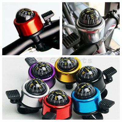 Bike Cycling Bicycle Bell with Compass Ball Ring Alarm Handlebar Horns 6 color
