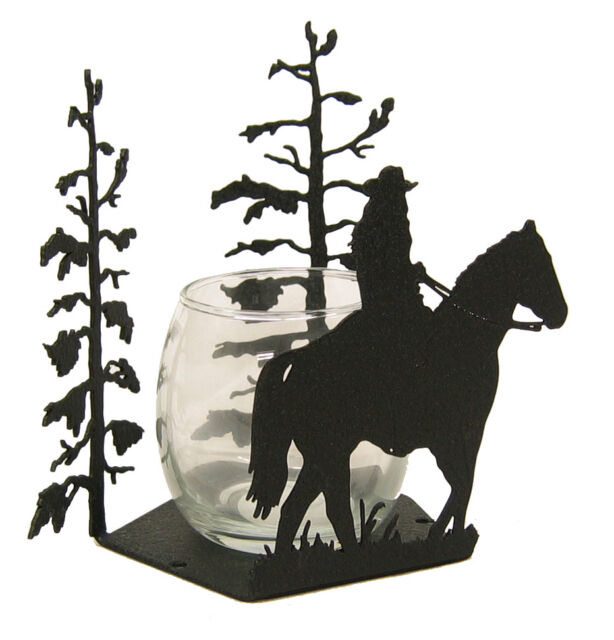 Female Rider Cowgirl Votive Candle Holder - Woman, Horse