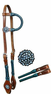 1 Ear Teal Turquoise Rawhide Braided Bling Concho Barrel Racing Bridle Headstall